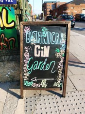 Photo of sign to Botanical Gin Garden bar Liverpool