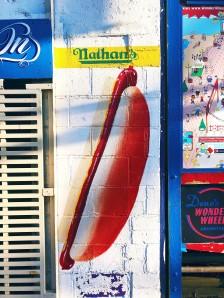 Photo of a hotdog mural in Coney Island
