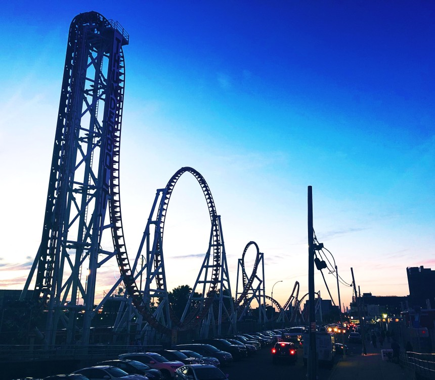 Photo of Coney Island rollercoaster at night