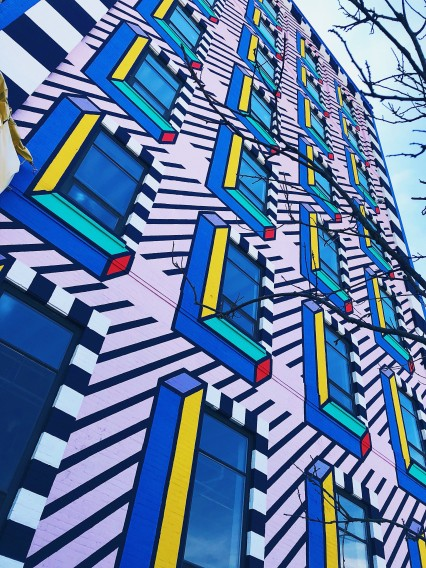 Photo of Camille Walala mural in Industry City