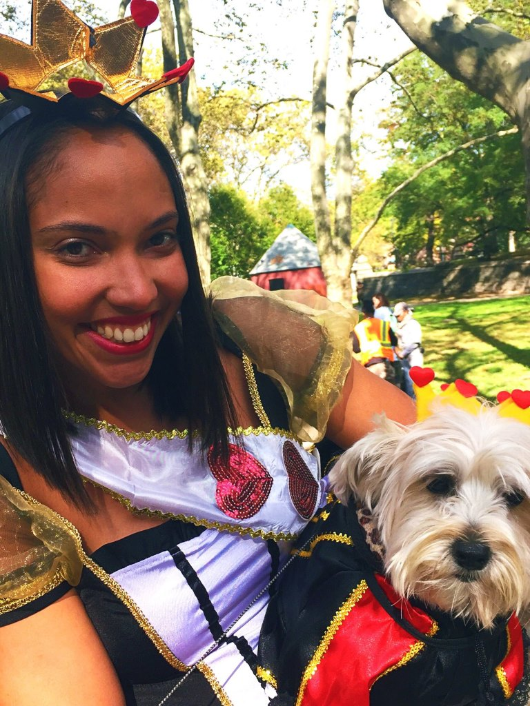 Dog and owner in fancy dress for Halloween at Fort Greene PUPs parade